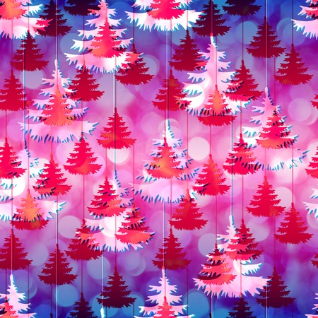 allover: Vivid New Year pattern shine bokeh lights with christmas trees pattern seamless. Red Christmas trees background on a colorful gradient backdrop.