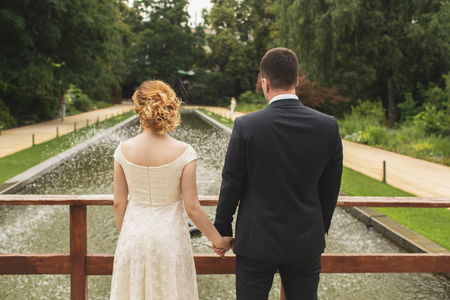 marriageable: the bride and groom are holding each other Stock Photo