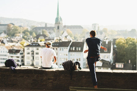 grossmunster cathedral: streets and beautiful places in Zurich Stock Photo