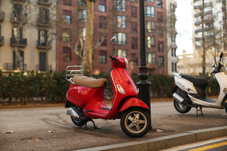 moped: red moped in Barcelona