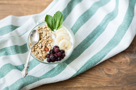 wholesome: Healthy and wholesome breakfast. Yogurt with muesli and currants