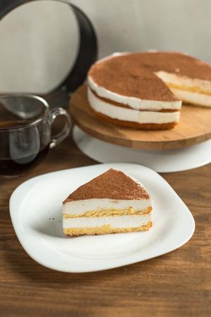 Milch Souffle Kuchen Mit Schokoladenglasur Auf Einem Teller Kaffee