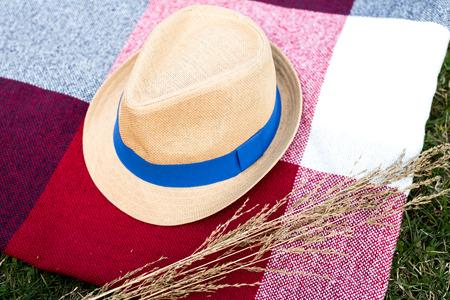 pic nic: Straw hat on plaid