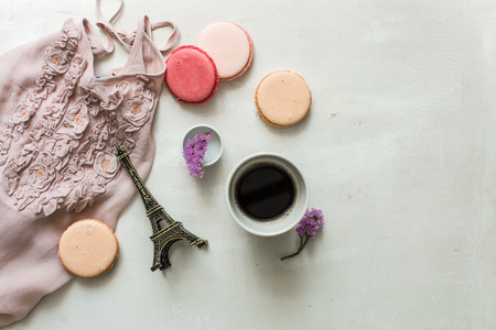 desayuno romantico: romantic breakfast in paris, macarons and coffee