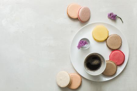 macarons: romantic breakfast in paris, macarons and coffee