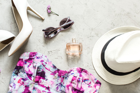 summer dress: women summer accessories: dress, sunglasses, hat