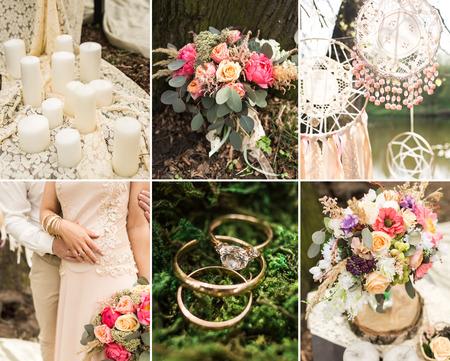 Wedding decoration on boho style: Dream catchers, flowers Stock Photo