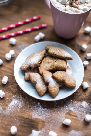 galletas de jengibre: galletas de jengibre picante cubiertos con azúcar en polvo en la repisa de la ventana
