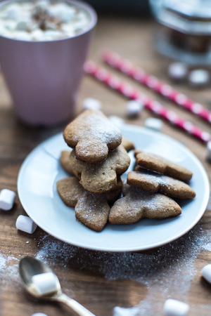 galletas de jengibre: spicy ginger cookies covered with powdered sugar on window sill