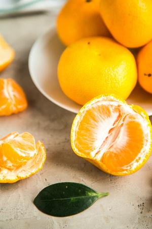fresh mandarin tangerines on table