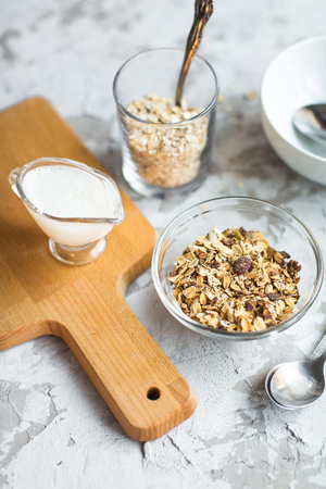 healthy breakfast: granola with cranberries in bowl