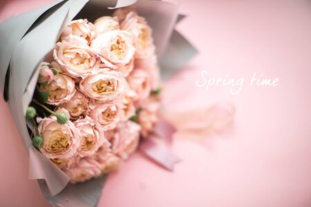 beautiful bouquet of fresh pink roses, vintage style