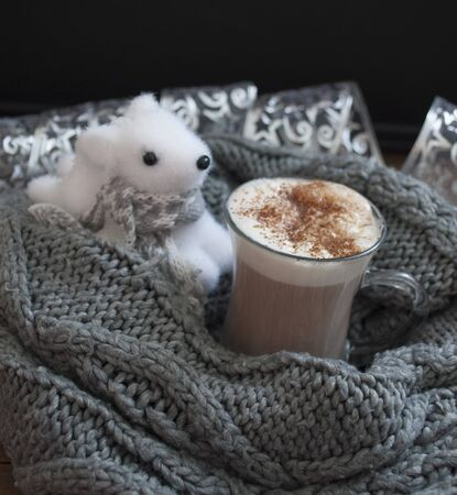 cappuccino and deer in warm scarves