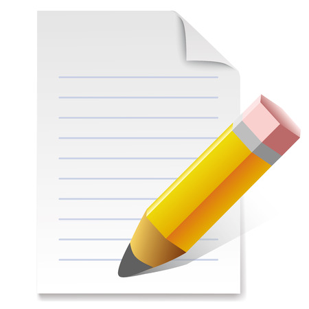 sharpened: Vector illustration of sharpened fat yellow pencil with paper Illustration