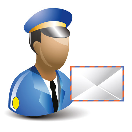mailman: Cartoon of Postman or Mailman icon and letter