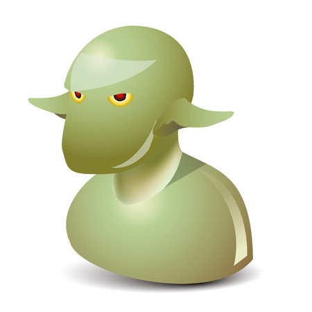 bald ugly: icon of the green and agly man like a goblin