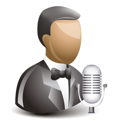 retro microphone: Singer with retro microphone icon in suit