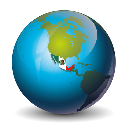 worl: icon of the Mexco on the worl globe map