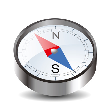 Compass icon isolated on white background with north and south