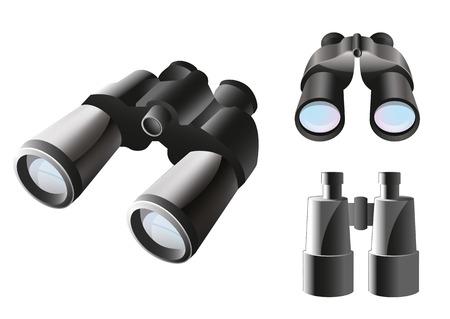 Binoculares アイコンの別の角度の 3 つの項目を設定  イラスト・ベクター素材