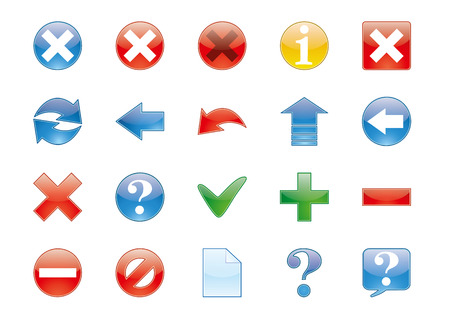 satin round: Icons set with different directions and actions Illustration