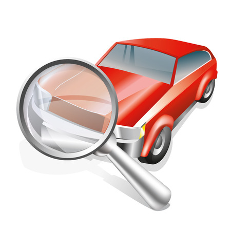 Icon of red car and magnifier isolated on white background. Vector, eps10. Illustration