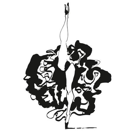 baile caricatura: Can Can bailarina ilustración impresión en estilo blanco y negro Vectores