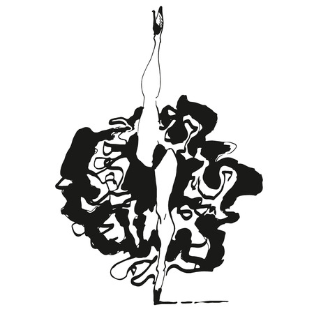 cancan: Can can dancer illustration print in black and white style