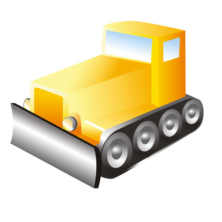 dredger: bulldozer icon of yellow color with tires and caterpillars