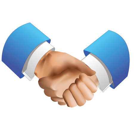 en: Handshake icon of to en in blue color suits Illustration
