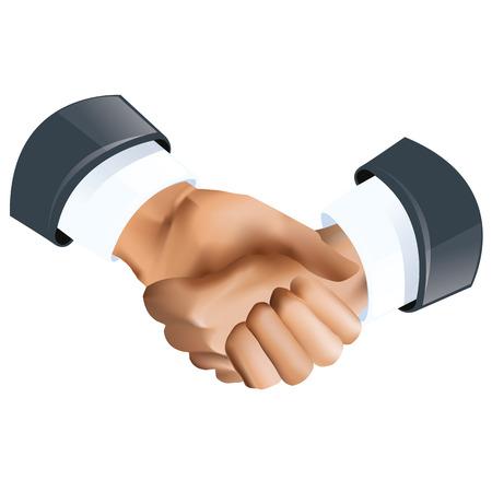 en: Handshake icon of to en in grey color suits Illustration