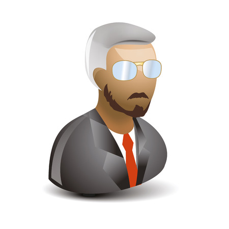 businness: icon of sirious man with glasses and businness suit