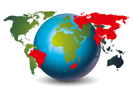 brics: icon of the brics union with all participaiting countries on the world map Illustration