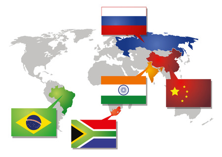icon of the brics union with all participaiting countries on the world map Illustration