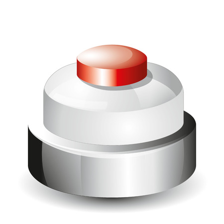 call bell: Call bell icon with a red button and steel body
