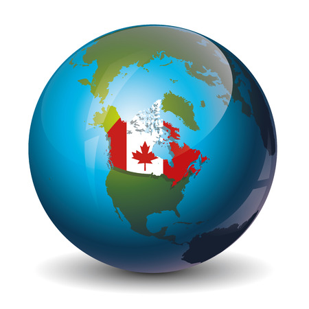 Icon of brazil map with national flag on the earth royalty free icon of the canada on globe world map vector gumiabroncs Images