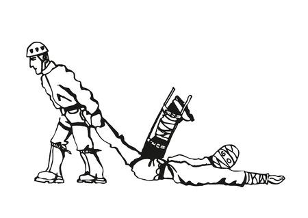 montañas caricatura: rescate caricatura trabajador con un guardaparques y uno wictim Vectores
