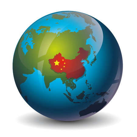 earth map: icon of China map on the world map earth