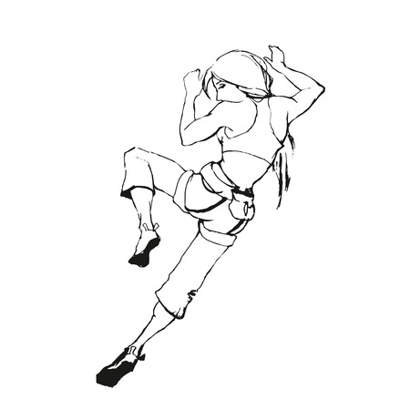safety harness: Climbing girl painting in black and white style Illustration
