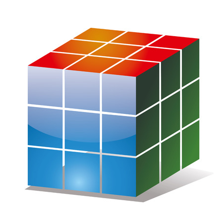 Rubik cube icon with the sides of diferent colours Ilustração