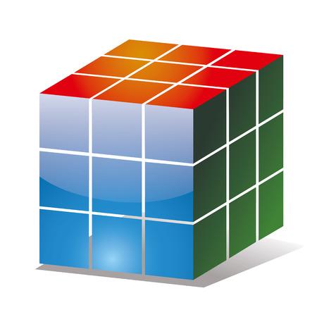 Rubik kubus pictogram met de zijkanten van verschillende kleuren Stock Illustratie