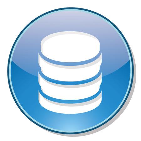 webhosting: Database icon on blue circle with shadow isolated