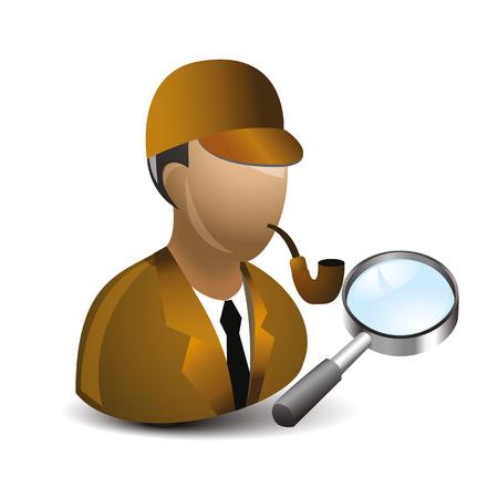 policia caricatura: icono de detectyve vendimia con tubo de direcci�n y el tabaco