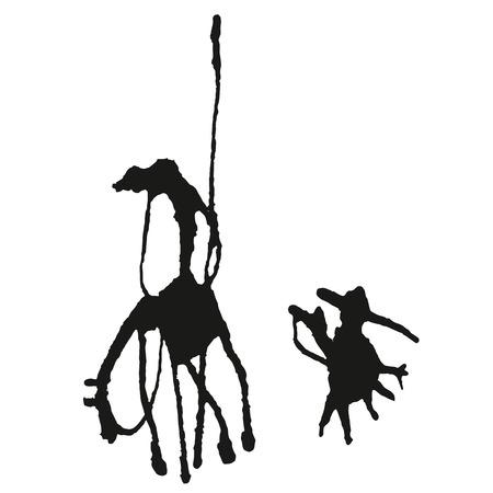 ilustración Don Quijote en estilo blanco y negro