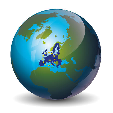 earth map: icon of the map of the europeand union with a flag Illustration