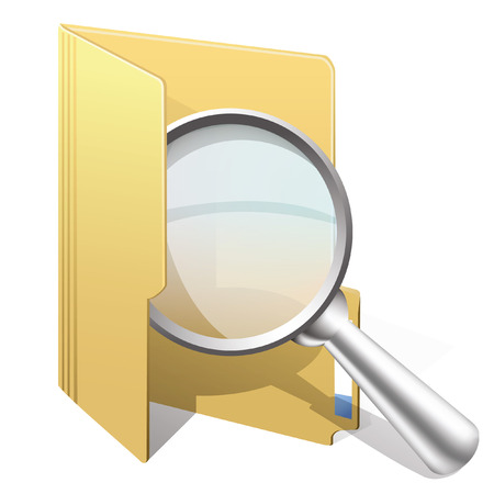 Vector icon of search with yellow folder  and magnifying glass Illustration