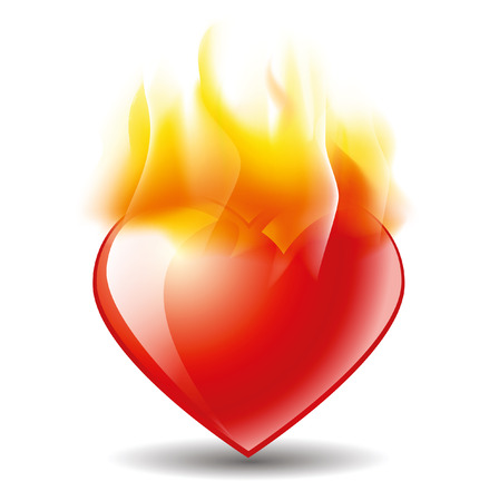 burning heart: icon of the burning heart with fire Illustration