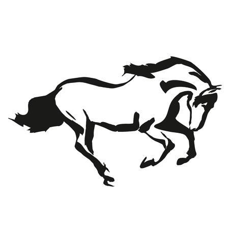 carreras de caballos: Drowing Caballo en un estilo blanco y negro