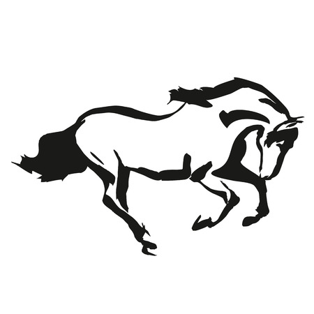 horse silhouette: Horse drowing in a black and white style