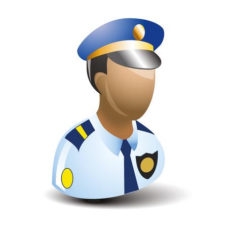 gorra polic�a: icono del estilo plano polic�a con calor Vectores